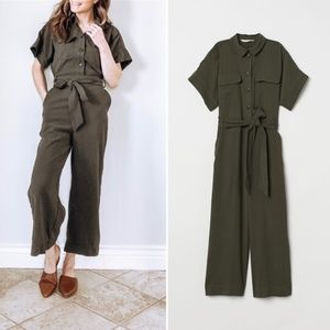 H&M Utility Wide Leg Army Green Jumpsuit :055